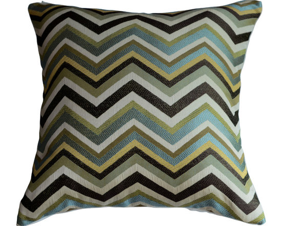 KH Window Fashions, Inc. - Chevron Pillow Cover in Mineral/Aqua/Lt. Green/Brown/Gold/Ivory, Without Insert - Chevron pillow in aqua, lt. green brown, gold and ivory. Perfect to toss on your bed or sofa.
