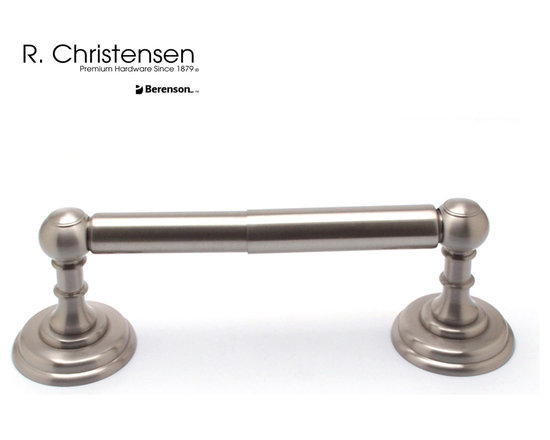 2112US15 Brushed Nickel 2-Post Tissue Holder by R. Christensen - 8-1/2 by 2-3/16 inch traditional style 2-post tissue holder by R. Christensen in Brushed Nickel.