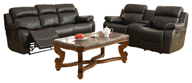 Homelegance Marille 4-Piece Reclining Living Room Set in Black Leather traditional-furniture