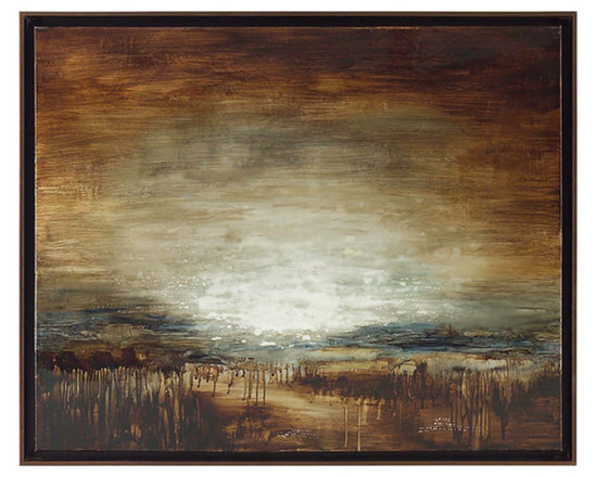 "John Richard - John Richard Bright Lights GBG-0680 - In her signature pallet of crystal blues and whites grounded by rich earthy browns, Raissa's original painting is a giclee on canvas mounted on a 2"" wooden stretcher. The frame is hand finished bronze metal leafed."