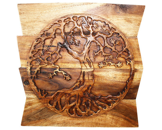 Kammika - Tree of Life Round on Uneven Boards Sust Wood Wall Panel 24x24x2 inch Eco Walnut - Our Sustainable Monkey Pod Wood with Eco Friendly Natural, Food-safe Livos Walnut Oil Finish Tree of Life Round on Uneven Boards is a 24 inch x 24 inch x 2 inch thick Wall Panel that displays the concept of a many branched tree illustrating the idea that all life on earth is related. The Banyan and the Peepal trees are both considered the Trees of Life. The Banyan symbolizes fertility; it is also referred to as the Tree of Immortality. Each panel is hand carved - no two are alike. Craftspeople from the Chiang Mai area in Northern Thailand create these pieces with the simplest of tools. After each Monkey Pod wood (Acacia, Koa, Rain Tree grown for wood carving) piece is dried, carved and sanded by Thai artisans, it is rubbed in natural food-safe eco friendly Livos Walnut Oil that is polished to a water resistant and food safe matte finish. Color range is from medium to dark Walnut brown tones that will darken as the wood ages. These natural oils are translucent, so the wood grain detail is highlighted. There is no oily feel; and cannot bleed into carpets, as it contains natural lacs. This piece is made from the branches of the Acacia tree in Thailand - where each branch is cut and carved to order (allowing the tree to continue growing). The wood is dried, carved and sanded by Thai artisans. We make minimal use of electric sanders in the finishing process. All products are dried in solar or propane kilns. No chemicals are used in the process, ever. This eco friendly piece is packaged with cartons from recycled cardboard with no plastic or other fillers. The color and grain of your piece of Nature will be unique, and may include small checks or cracks that occur when the wood is dried. Sizes are approximate. Products could have visible marks from tools used, patches from small repairs, knot holes, natural inclusions or holes. There may be various separations or cracks on your piece when it arrives. There may be some slight variation in size, color, texture, and finish.Only listed product included.