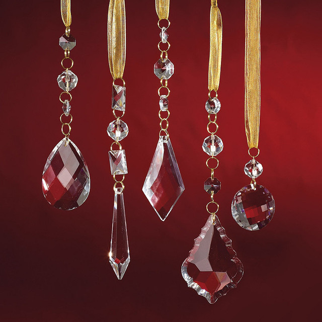 Set of 24 Crystal Droplets with Gold Hangers - Frontgate - Christmas Decorations traditional-holiday-decorations