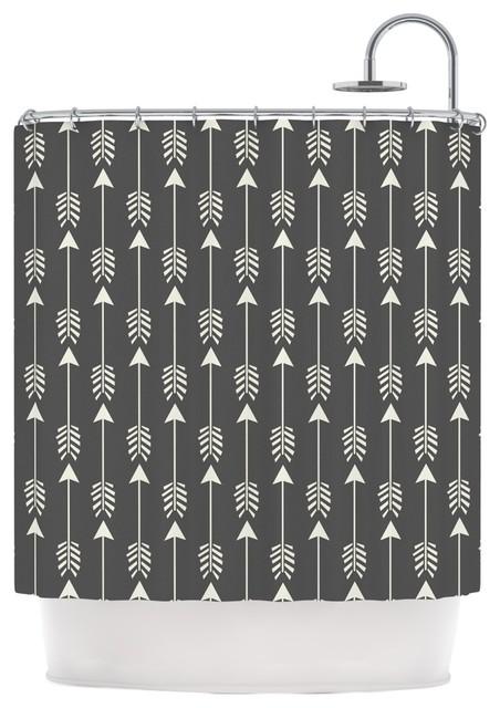 Amanda Lane Tribal Arrows Dark Gray Shower Curtain Contemporary