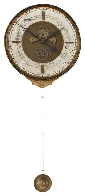 "Traditional Leonardo Creme Pendulum 18"" Wide Round Wall Clock traditional-clocks"