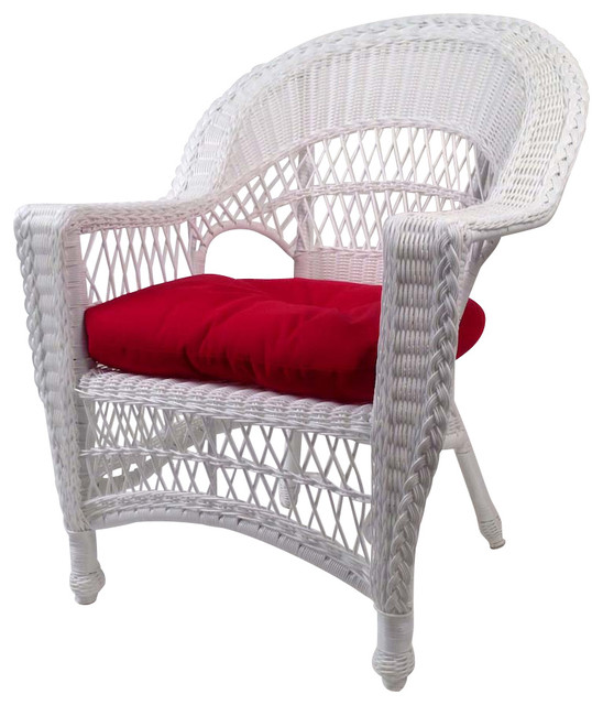 Cape Cod Wicker Chair White Traditional Outdoor Lounge Chairs by Wicker