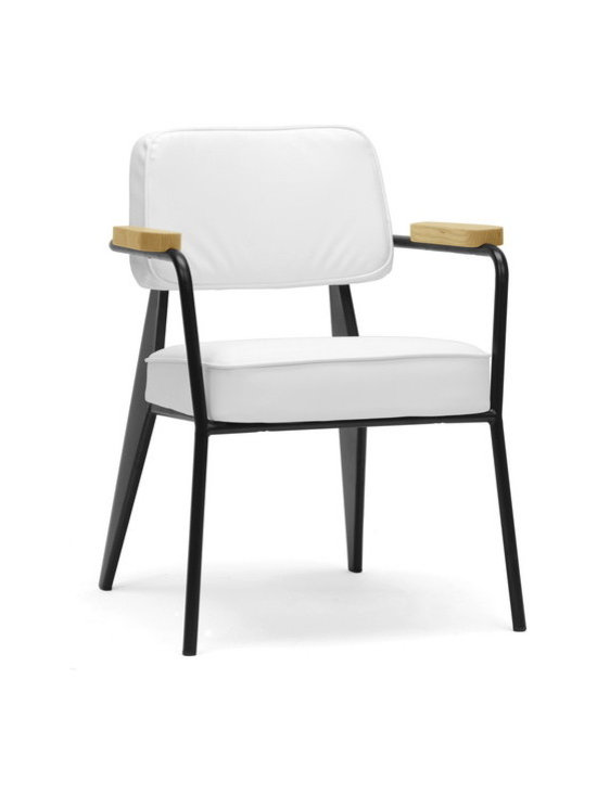 "Wholesale Interiors - Lassiter Mid-Century Modern Accent Chair - A fusion of varying materials makes our Lassiter Chair a modern work of art. Made in China, this stunner features a black steel frame, white faux leather, and ash wood armrests. Non-marking feet and foam cushions finish it off. We love this piece not only as a living room chair but as a waiting room chair and office chair. The Lassiter Chair is fully assembled and should be wiped clean with a damp cloth. 25.12""W x 24.37""D x 32""H, seat dimension: 19.5""W x 20""D x 18.87""H , arm height: 26.1""."