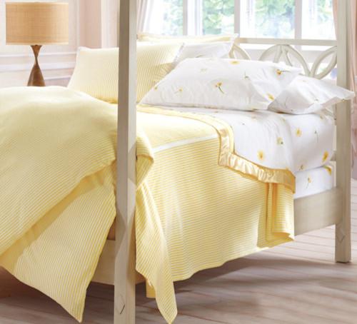 Seersucker Striped Bedding Yellow White Traditional