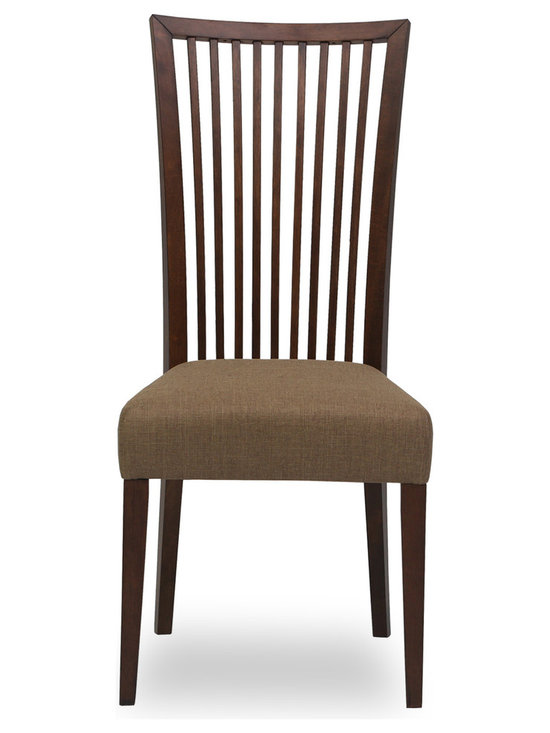 Bryght - Carolina Latte Fabric Upholstered Cocoa Dining Chair - The Carolina dining chair showcases a simple time honored linear slat back design - a definite treat for the trendy and traditional household alike. Gently curved wooden high back and a cushioned seat provides adequate support for a relaxed sit. The Carolina dining chair is perfect for everyday use or dinner parties.