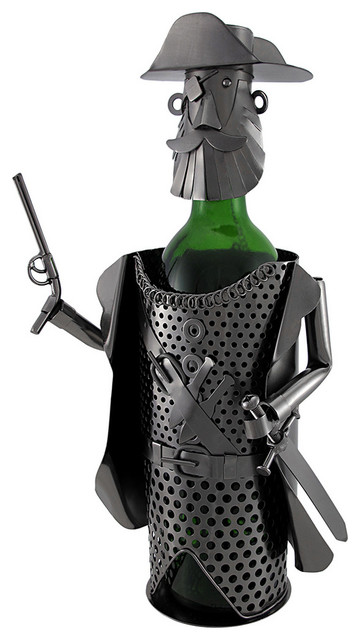 Pirate Captain Holding Pistol and Sword Metal Art Wine Bottle Display - Contemporary - Wine ...