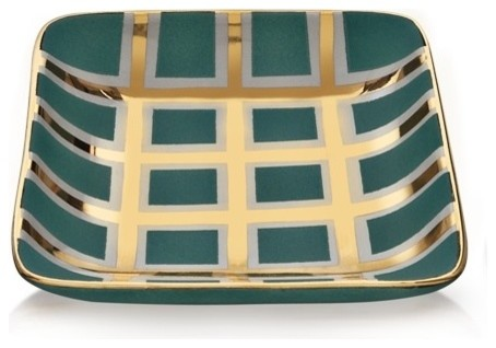 Waylande Gregory Small Turquoise and Gold Grid Small Square T contemporary serveware