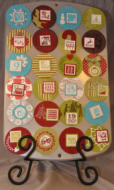 Muffin Tin Advent Calendar by JenniStampinStuff eclectic-christmas-decorations