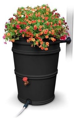 Garden Hose. RainStation 45 gal. Rain Barrel with Diverter - Charcoal (85% Recyc contemporary-irrigation-equipment