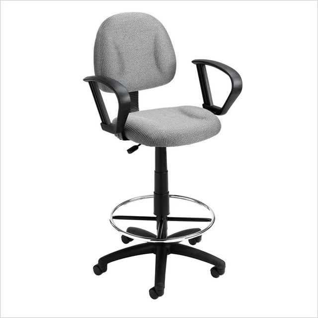 Boss Office Products Contoured Fabric Drafting Stool With Loop Arms Black T