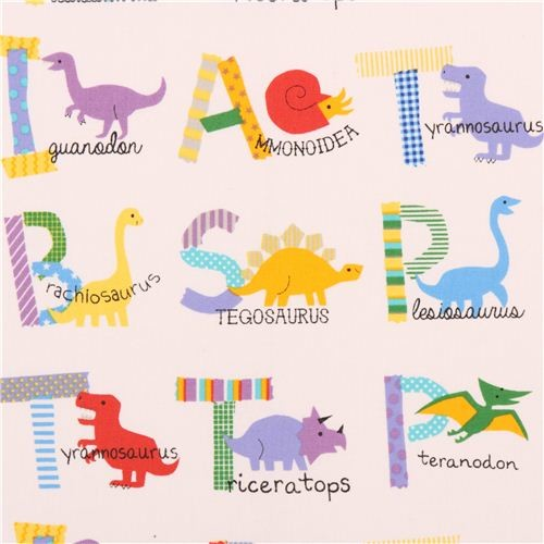 white dinosaur dino alphabet ABC Kokka Canvas fabric - Fabric