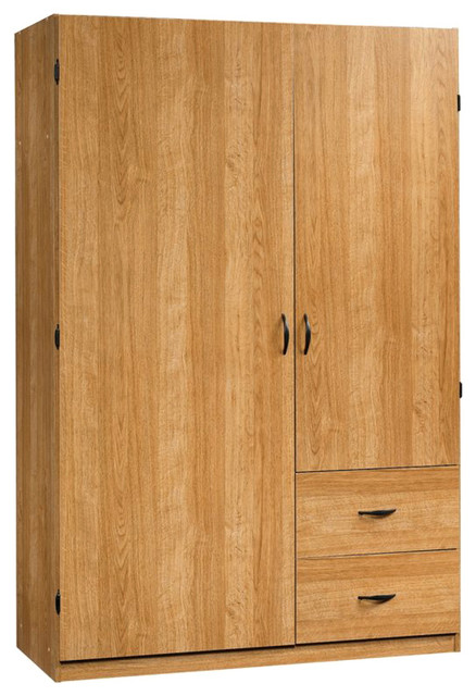 Sauder Beginnings Storage Cabinet in Highland Oak transitional-storage-units-and-cabinets