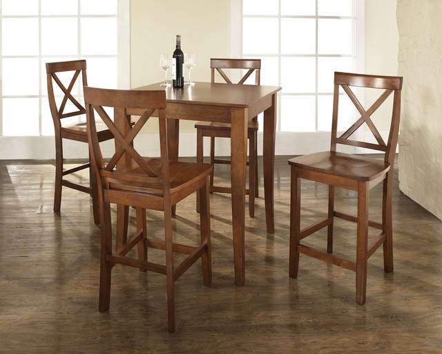5 Pc Pub Dining Set w Cabriole Leg and X-Back contemporary-dining-sets