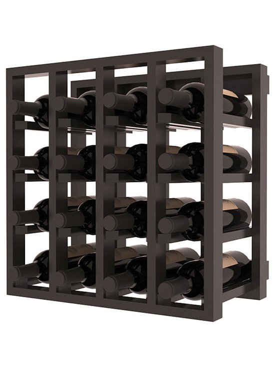 Lattice Stacking Wine Cubicle in Pine with Black Stain + Satin Finish - Designed to stack one on top of the other for space-saving wine storage our stacking cubes are ideal for an expanding collection. Use as a stand alone rack in your kitchen or living space or pair with the 20 Bottle X-Cube Wine Rack and/or the Stemware Rack Cube for flexible storage.