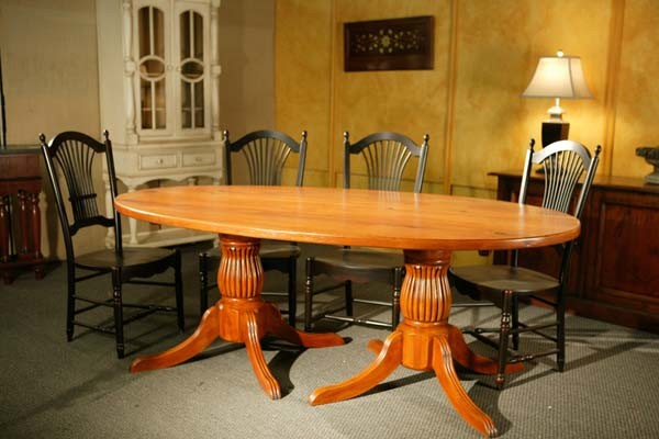 Large Oval Double Pedestal Dining Table Made From Reclaimed Wood Farmhouse