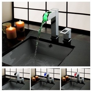 JollyHome Single Handle Waterfall Bathroom Vessel Sink LED Faucet modern-bathroom-sinks