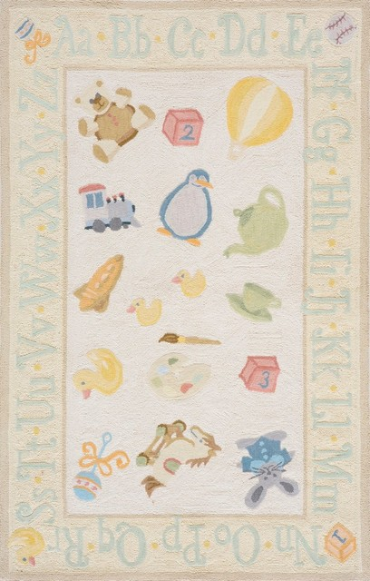 """Lil Mo Classic-2 Rug, Pale Yellow, 3'-0"""" x 5'-0"""" traditional-kids-rugs"""