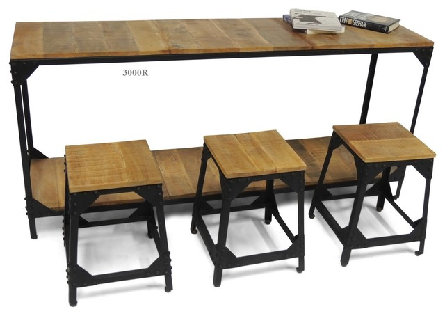 Collection rustique industriel ensemble table et for Table exterieur metro