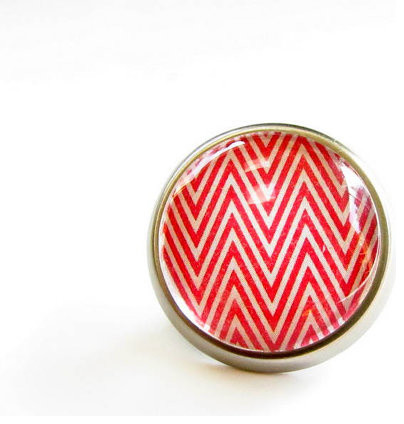Red Chevron Modern Cabinet Knob By feather & wind contemporary-cabinet-and-drawer-knobs
