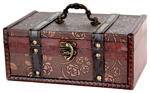 Decorative leather treasure trunk box traditional - Decorative trunks and boxes ...