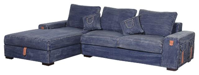 Premier Denim Corner Storage Sofa - Contemporary - Sectional Sofas - other metro - by SASO