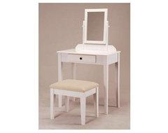 White Bedroom Vanity Table with Tilt Mirror & Cushioned Bench modern-bedroom-and-makeup-vanities