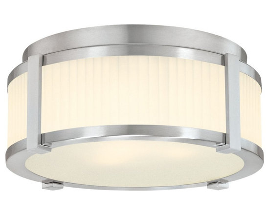 """Sonneman - Sonneman Roxy 12"""" Surface Ceiling Light Fixture - The textured glass is mesmerizing and matched with slender metallic details. This Sonneman light fixture has a clean and refined look. Satin nickel finish. Etched fluted glass. Flushmount style. Takes two 60 watt medium base bulbs (not included). 5 1/2"""" high. 13"""" diameter. Canopy has 11"""" diameter.  Satin nickel finish.  Etched fluted glass.  Flushmount style.  Takes two 60 watt medium base bulbs (not included).  5 1/2"""" high.  13"""" diameter.  Canopy has 11"""" diameter."""