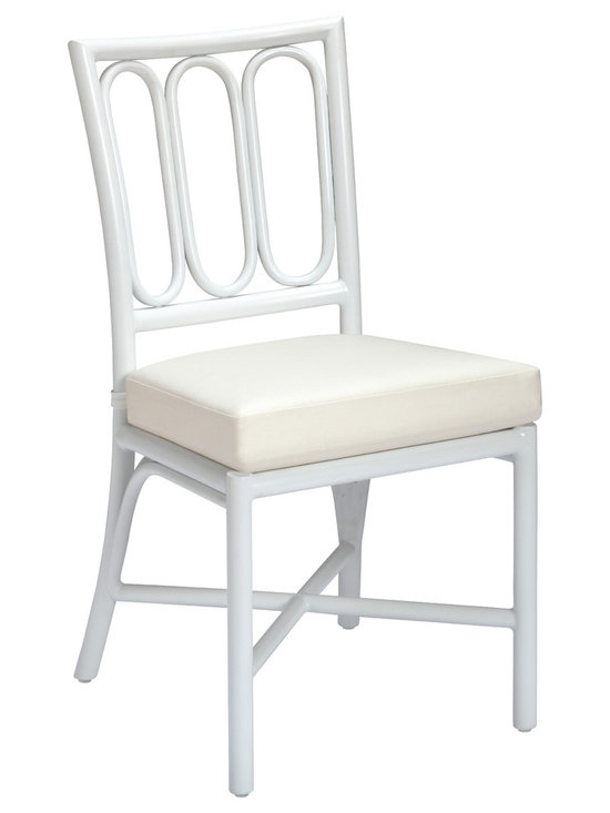 Palisade Garden Chair: GA-22-CLR - The Palisade Garden Chair is based on a favorite (retired) McGuire design originally designed by Elinor McGuire in 1962.  Lightweight, simple and classic, it can easily sit in a contemporary or traditional outdoor environment. With three oval rings that make up the back and a small footprint, it is striking, graphic and classic McGuire. Comes standard in Bronze or Seashell White finishes, as well as Cayenne - inspired by the warm hue of The Golden Gate Bridge.