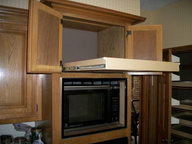 Single-Height Glide-Out Shelf Above a Microwave - Kitchen Drawer Organizers - other metro - by ...
