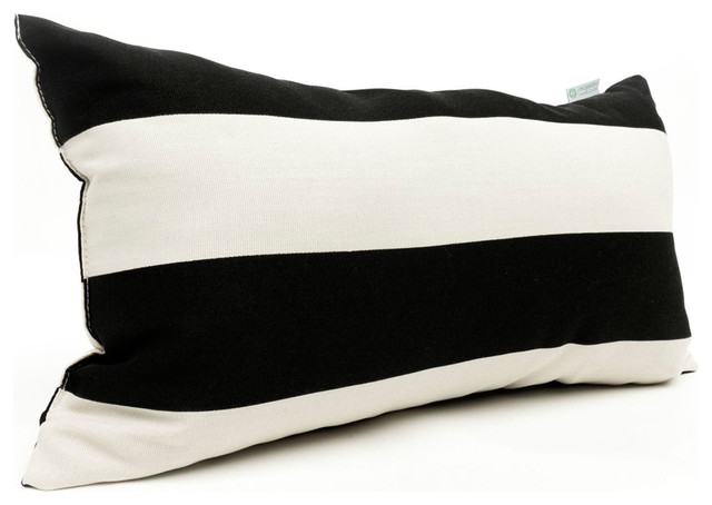 Outdoor Black Vertical Stripe Small Pillow - Contemporary - Outdoor Cushions And Pillows - by ...