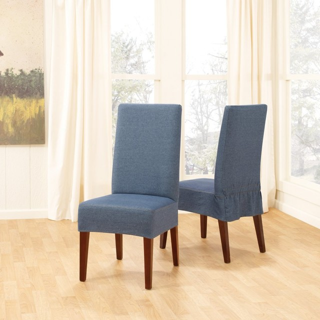 sure fit denim short dining room chair cover modern living room