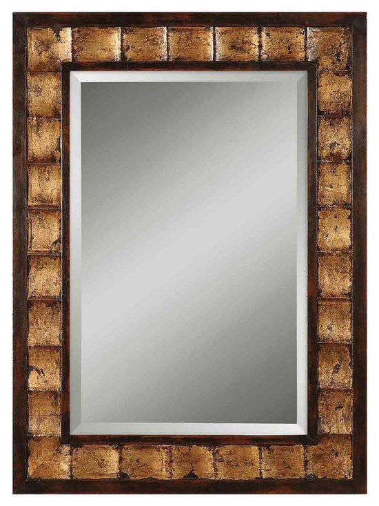 "Uttermost Justus Decorative Gold Mirror - Uttermost Justus Decorative Gold Mirror has a distressed mahogany wood tone with black undertones and gold leaf details. Dimensions: 38"" High, 28"" Wide."