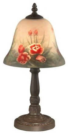 """Dale Tiffany 10056/604 15"""" Rose Bell Hand Painted Accent Table Lamp with Candela traditional-table-lamps"""