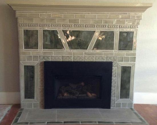 Sage Green fireplace surround -
