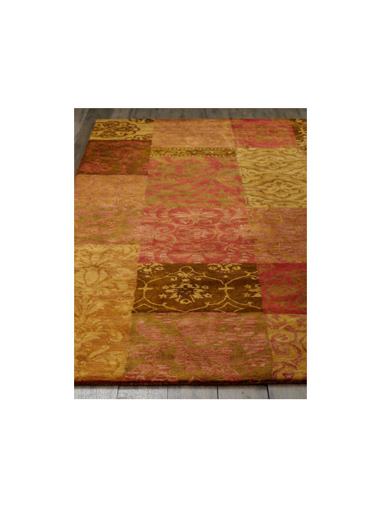 "Horchow - ""Belle de Jour"" Rug - A patchwork of traditional Persian designs and a lavish pile give this handmade rug timeless beauty and lasting appeal. Hand tufted of wool. Cotton backing applied with latex. Sizes are approximate. Imported. See our Rug Guide for tips on how t..."