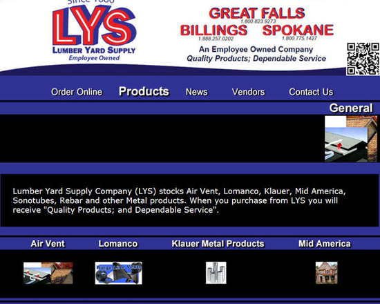 """Lumber Yard Supply Co. Stocked Products - Lumber Yard Supply Company (LYS) stocks Air Vent, Lomanco, Klauer, Mid America, Sonotubes, Rebar and other Metal products. When you purchase from LYS you will receive """"Quality Products; and Dependable Service""""."""