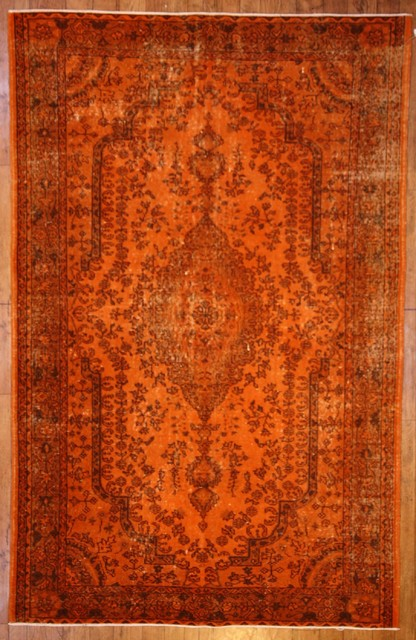 Burnt Orange Overdyed Rug Contemporary Rugs Other