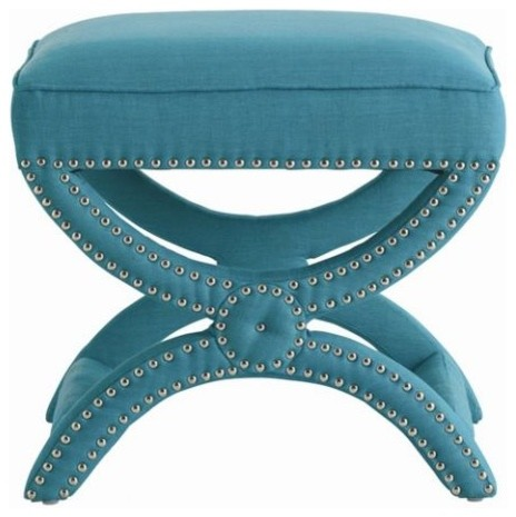 Tennyson Linen Stool, Turquoise contemporary-upholstered-benches