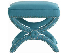 Tennyson Linen Stool, Turquoise contemporary-bedroom-benches
