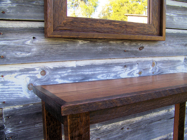 100yr. old Barnwood Mirror and Table Set traditional-home-decor