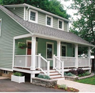 Light green house with white trim for Green house white trim