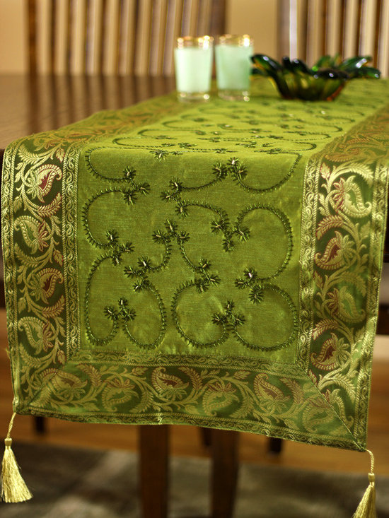 """Elegant Table Runners - Beautiful """"Citrus Green"""" Table Runner. Inspired by the Holiday season! Embroidered by hand in India. Dupion fabric."""