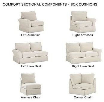 PB Comfort Roll Arm Slipcovered Right Arm Chaise Sectional, Knife-Edge Cushions, traditional-decorative-pillows