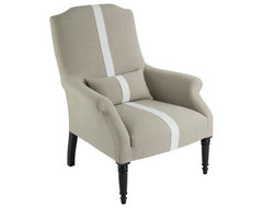 Portia Chair in Dark Linen with Stripe - Aidan Gray traditional-accent-chairs