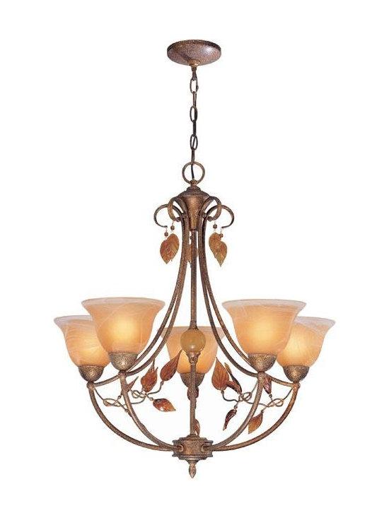 Joshua Marshal - Amber Glass 5 Light Up Lighting Chandelier - Finish: Amber Glass