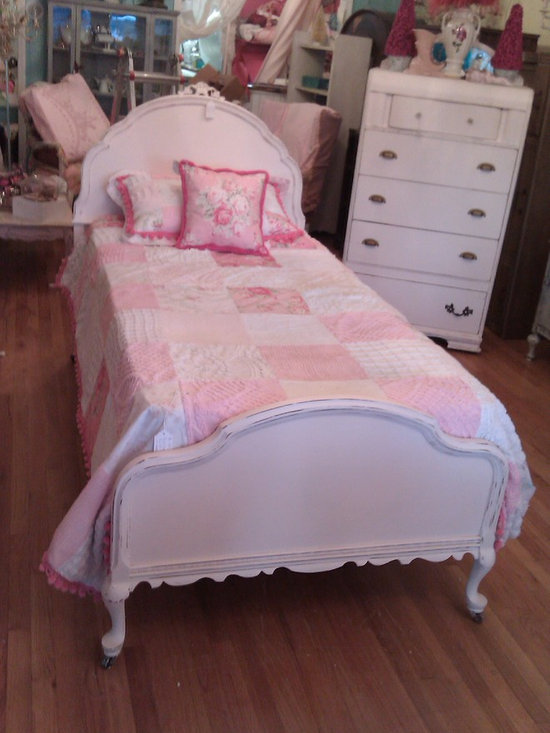 Antique twin bed frame light blush pink distressed - Walnut twin bed frame with pretty curvy details in the lightest shade of blush pink with light distressing. Perfect for your princess