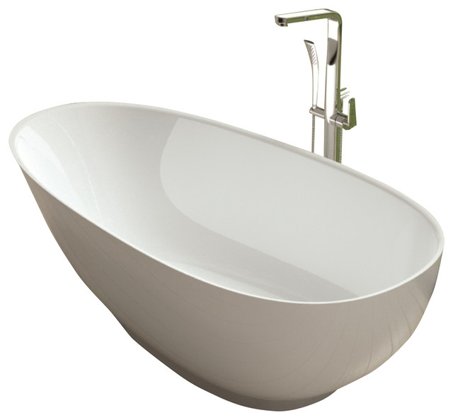 Stand Alone Bathtubs : ADM White Stand Alone Solid Surface Stone Resin Bathtub, White, 63 L X ...